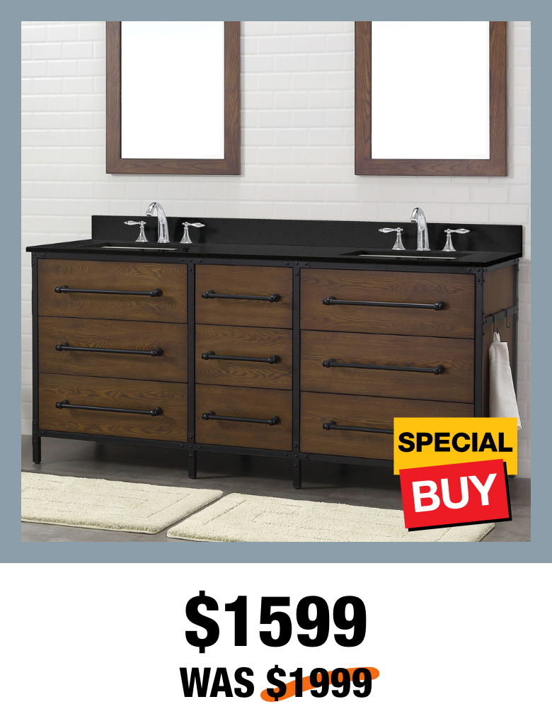 Exclusive Grandburgh 73 in. Coffee Swirl Vanity with Top