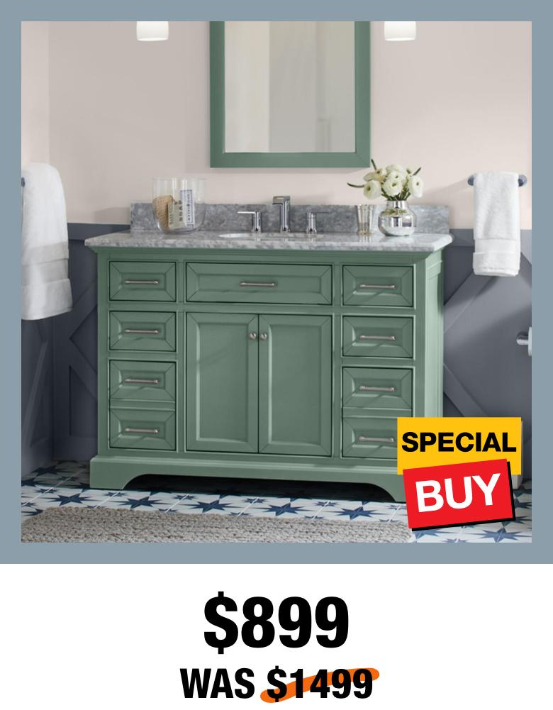 Exclusive Windlowe 49 in. Green Vanity with Top