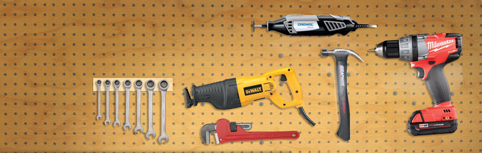 Various tools on pegboard wall