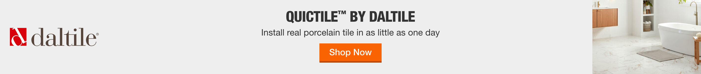 Quictile™ by Daltile Install real porcelain tile in as little as one day