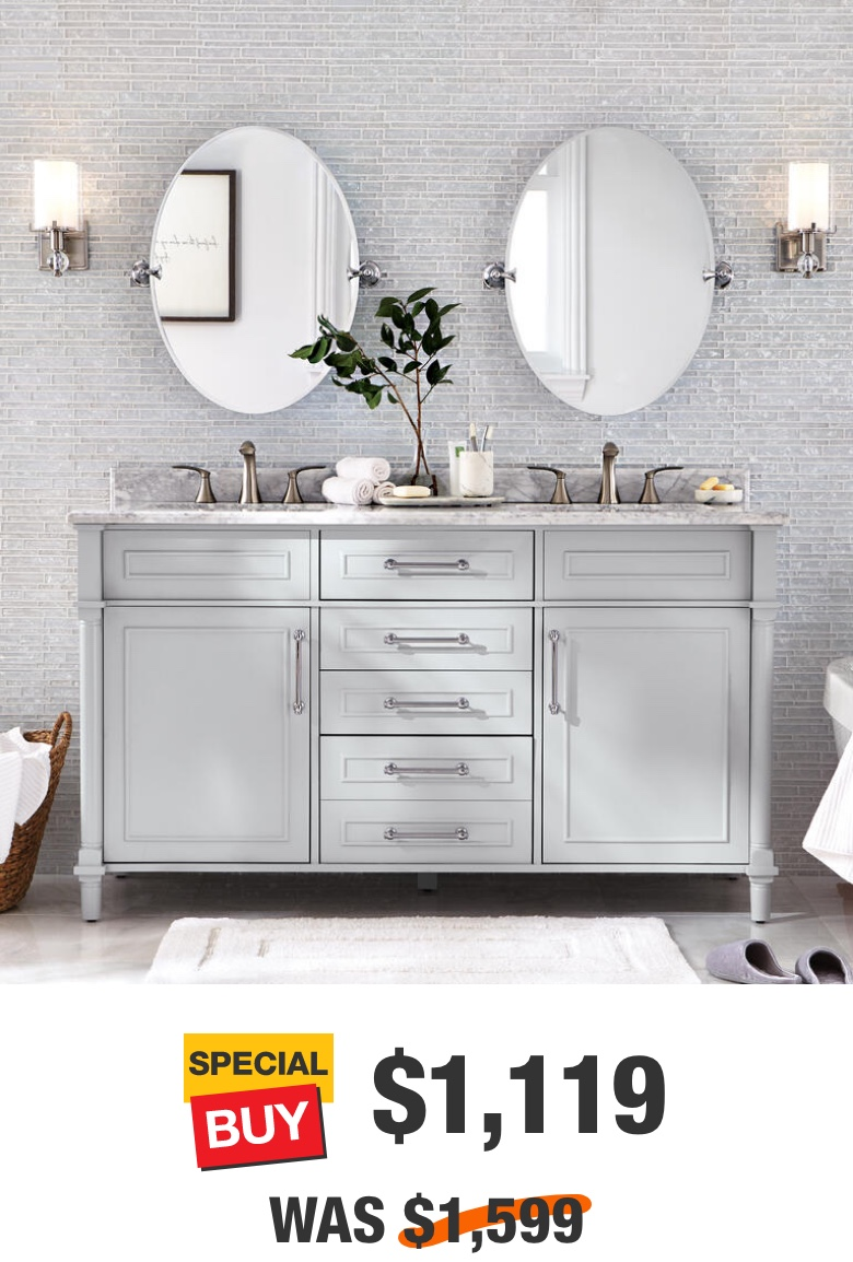 Aberdeen 60 in. Dove Grey with Carrara Marble Top