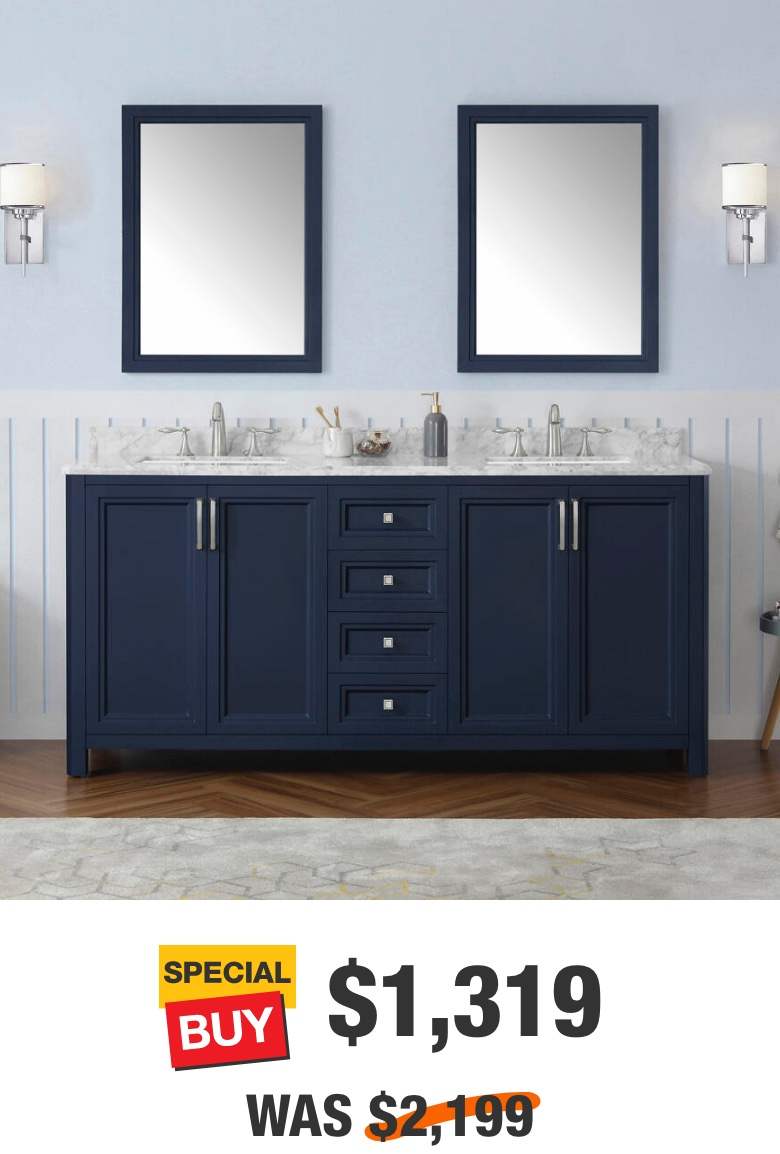 Sandon 72 in. Midnight Blue with Carrara Marble Top