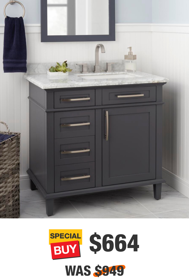 Sonoma 36 in. Dark Charcoal Vanity with Carrara Marble Top