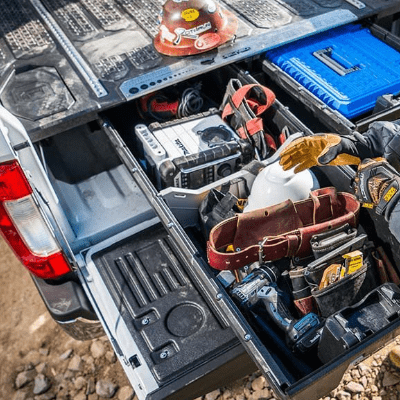 Truck bed storage & sliding drawer systems
