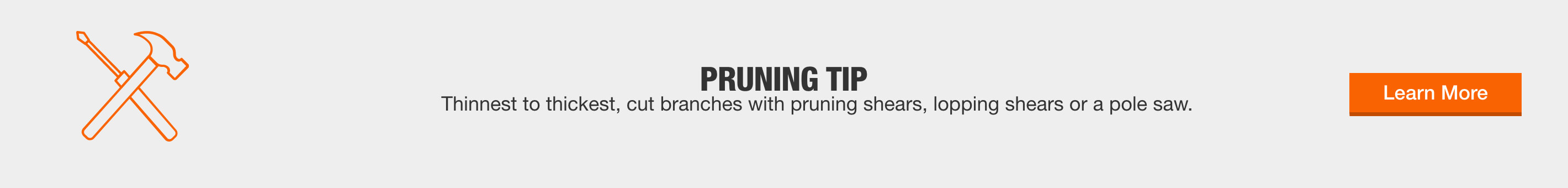 Pruning Tip - Thinnest to thickest, cut branches with pruning shears, lopping shears or a pole saw. Learn More