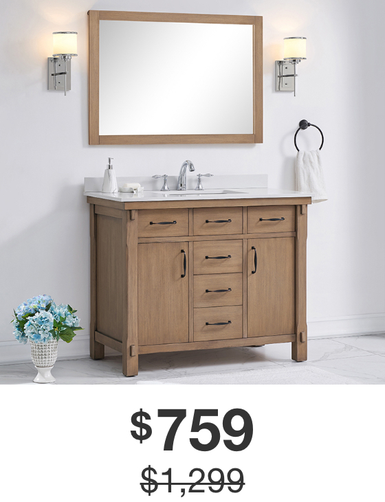 Bellington 42 in. Almond Toffee Vanity with White Marble Top