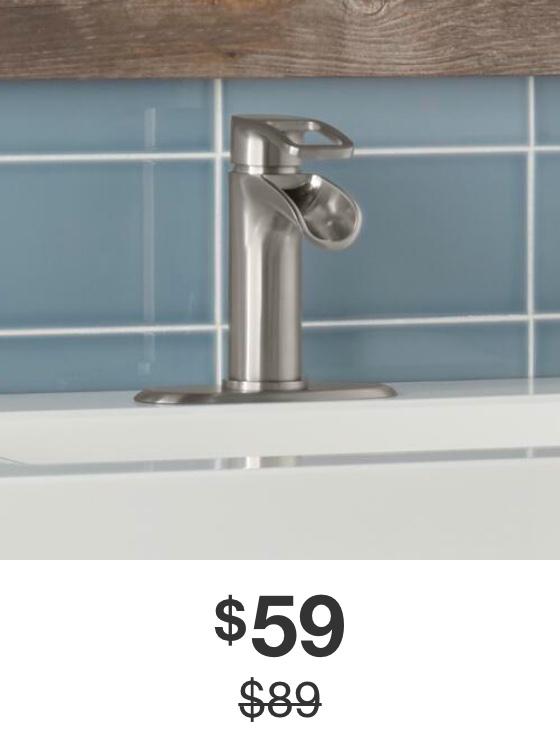 Kiso Single Hole Single-Handle Low-Arc Bathroom Faucet in Brushed Nickel