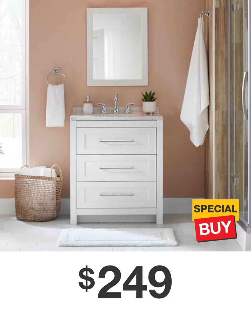 Sandhill 30 in. White Vanity with Solid Surface Top