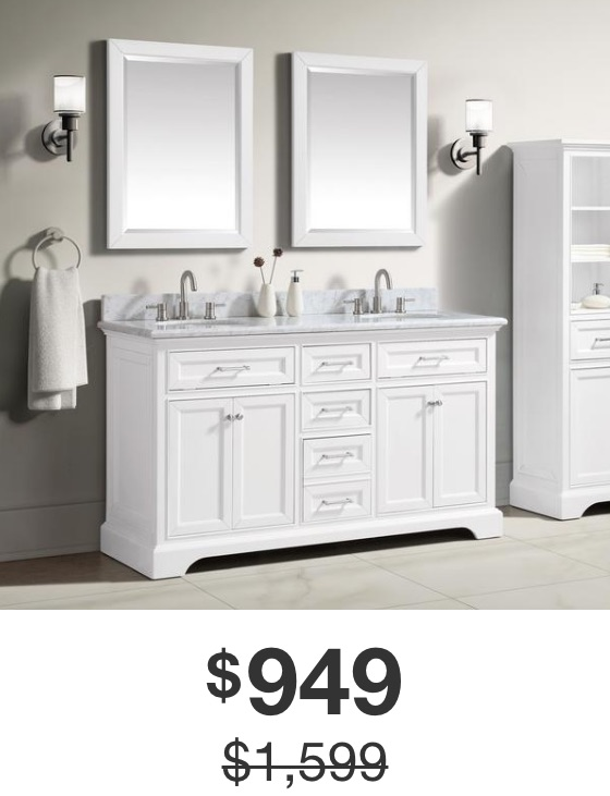 Windlowe 61 in. White Vanity with Carrara Marble Top