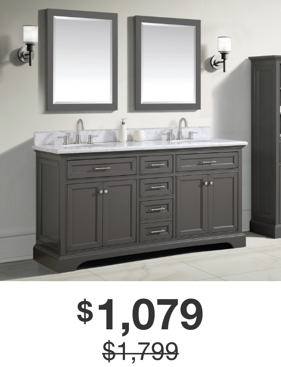 Windlowe 73 in. Gray Vanity with Carrara Marble Top