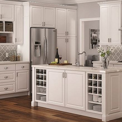 Hampton Bay Satin White Cabinets