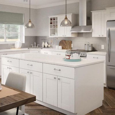 Hampton Bay Princeton Warm White Cabinets