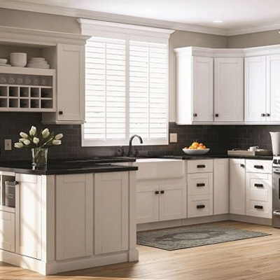 Shop Hampton Bay Shaker Satin White Cabinets