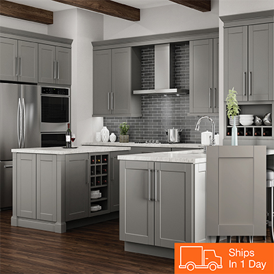Shop Hampton Bay Shaker Dove Gray Cabinets
