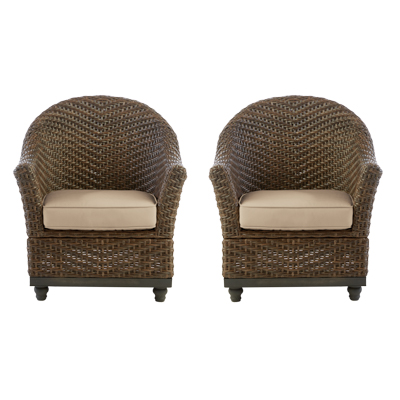 Home Decorators Collection Camden Dark Brown Wicker Outdoor Porch Chat  Lounge Chair With Sunbrella Fretwork Flax Cushions (2 Pack)
