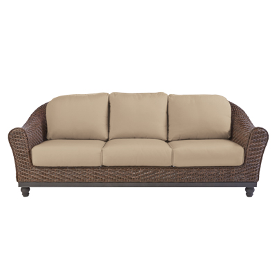 Home Decorators Collection Camden Dark Brown Wicker Outdoor Sofa With  Sunbrella Antique Beige Flax Cushions