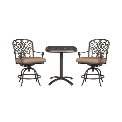 Hampton Bay Edington Aged Bronze 3 Piece Aluminum Patio Balcony Set With Cushions Included Choose Your Own Color