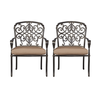 Hampton Bay Edington Cast Back Pair Of Patio Dining Chairs With Cushions Included Choose Your Own Color