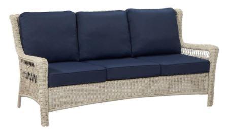 Hampton Bay Park Meadows Off White Wicker Outdoor Sofa With Midnight Cushion