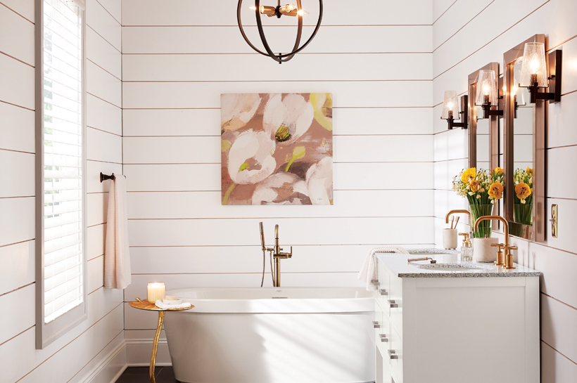 Modern farmhouse bathroom shop by room the home depot for Bathroom decor catalogs