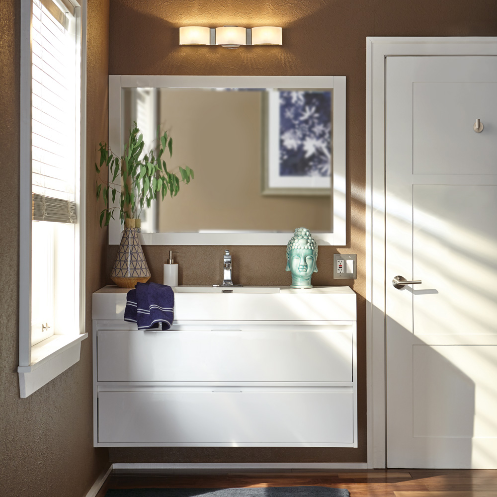 Bathrooms shop by room at the home depot for Decorated bathroom suites