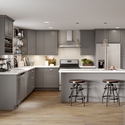 Cambridge Base Cabinets In Gray Kitchen The Home Depot