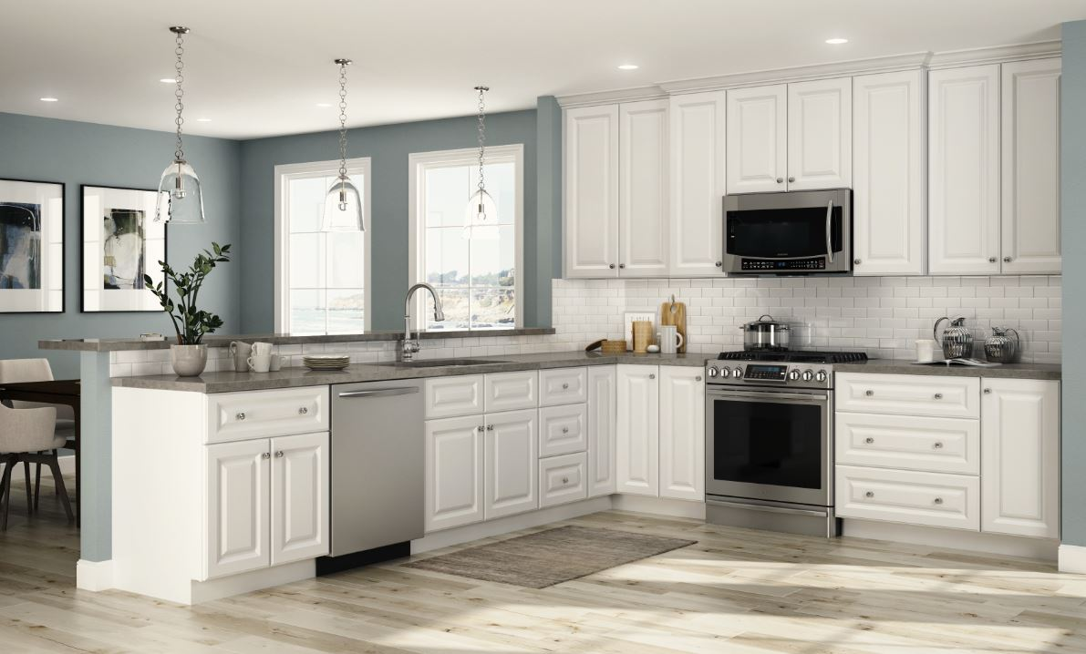 Hallmark Base Cabinets In Arctic White Kitchen The Home Depot