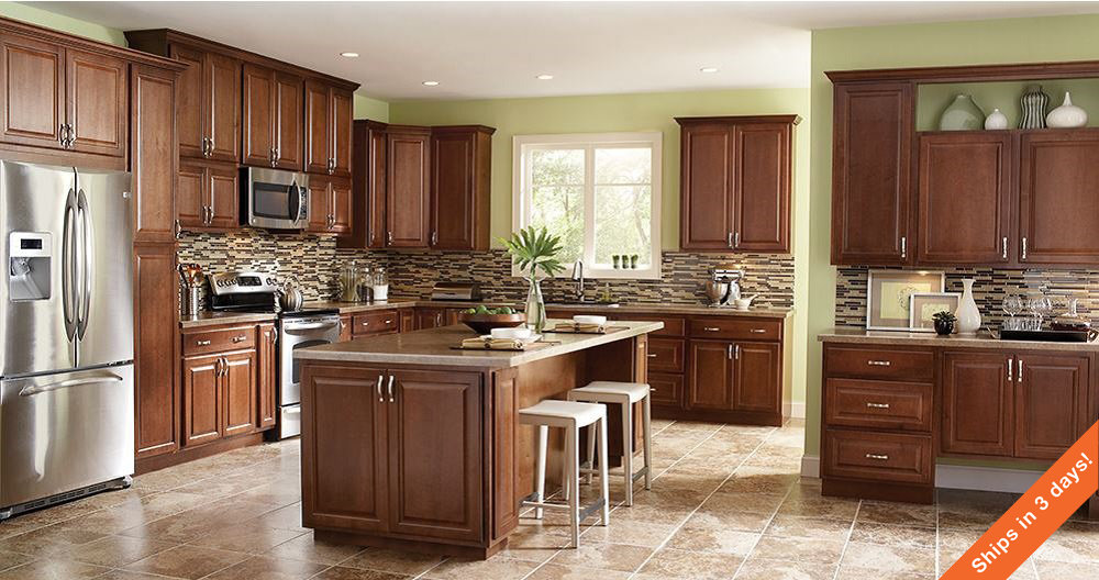 Hampton Wall Kitchen Cabinets in Cognac – Kitchen – The Home Depot