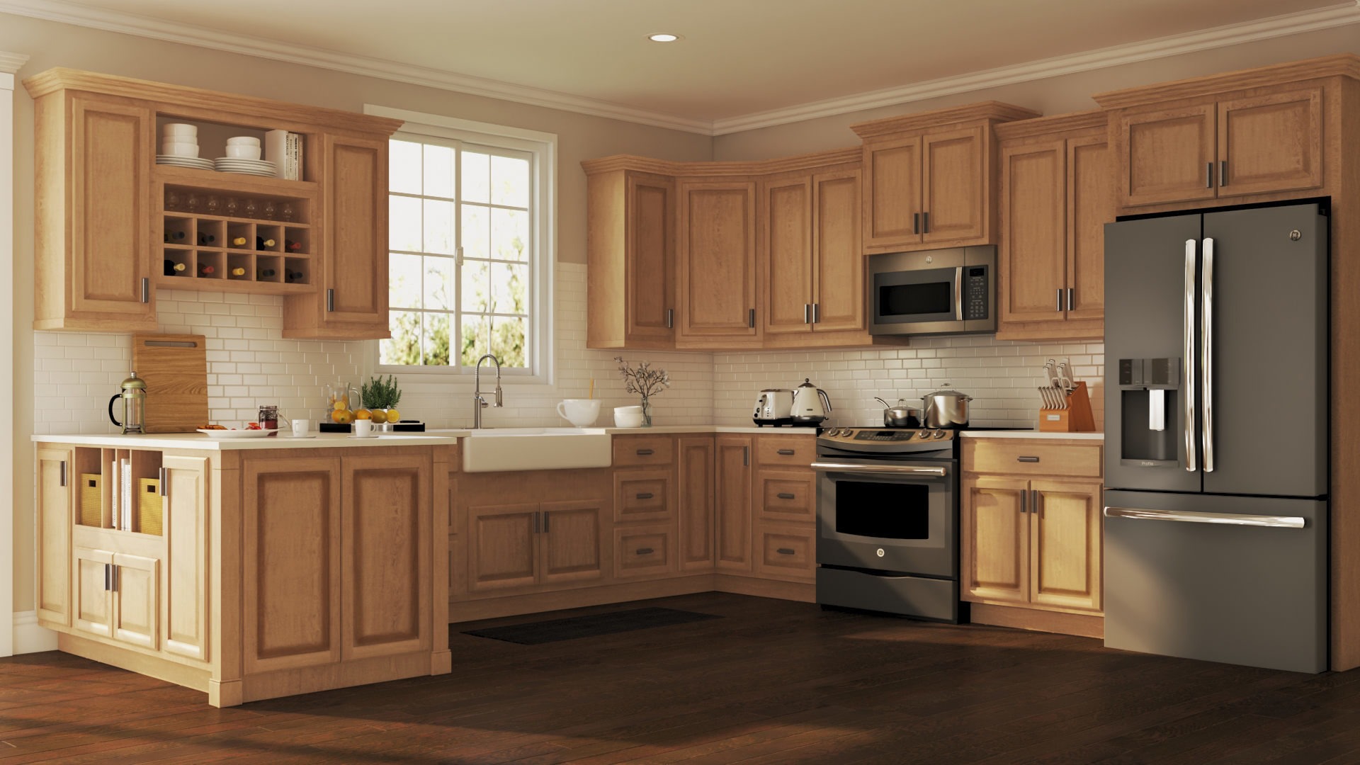 Hampton Wall Kitchen Cabinets In Medium Oak