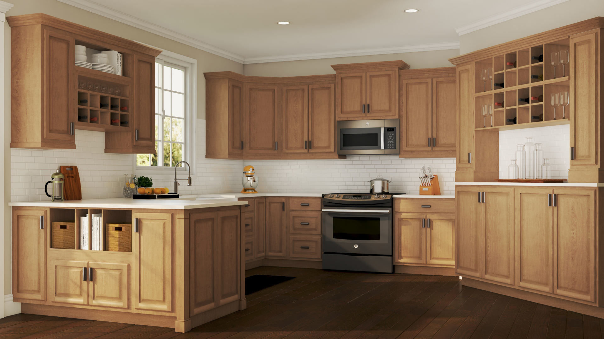 Image of: Hampton Medium Oak Coordinating Cabinet Hardware Kitchen The Home Depot