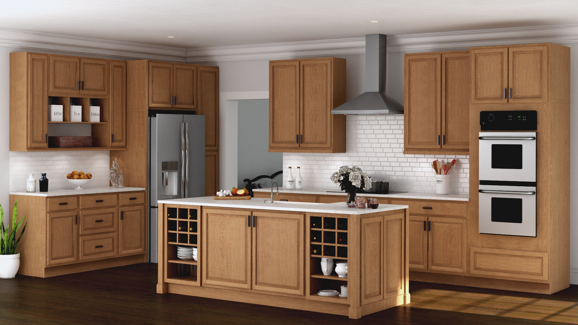 Hampton Wall Kitchen Cabinets in Medium Oak Kitchen