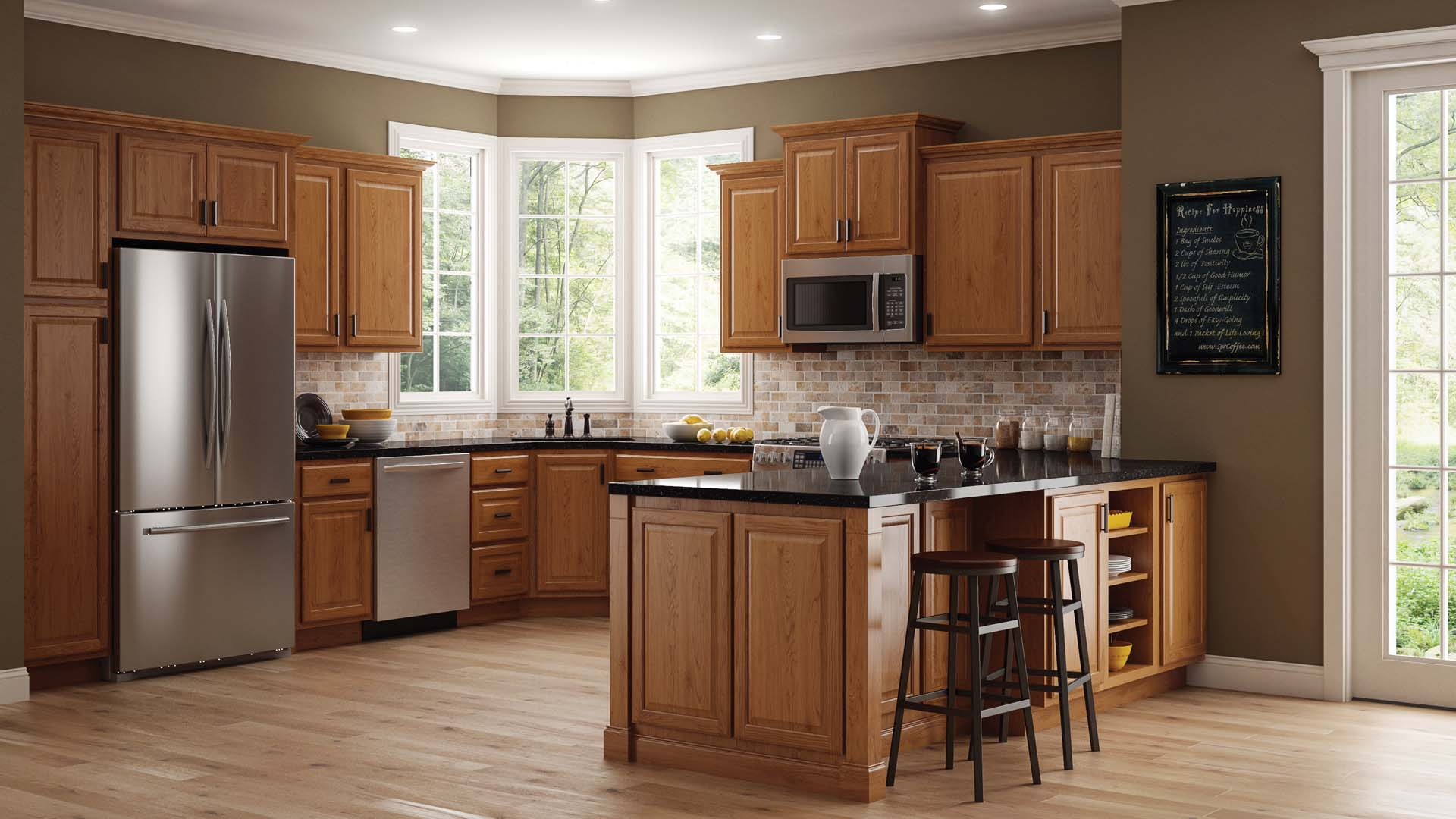 Design In Wood What To Do With Oak Cabinets: Hampton Wall Kitchen Cabinets In Medium Oak