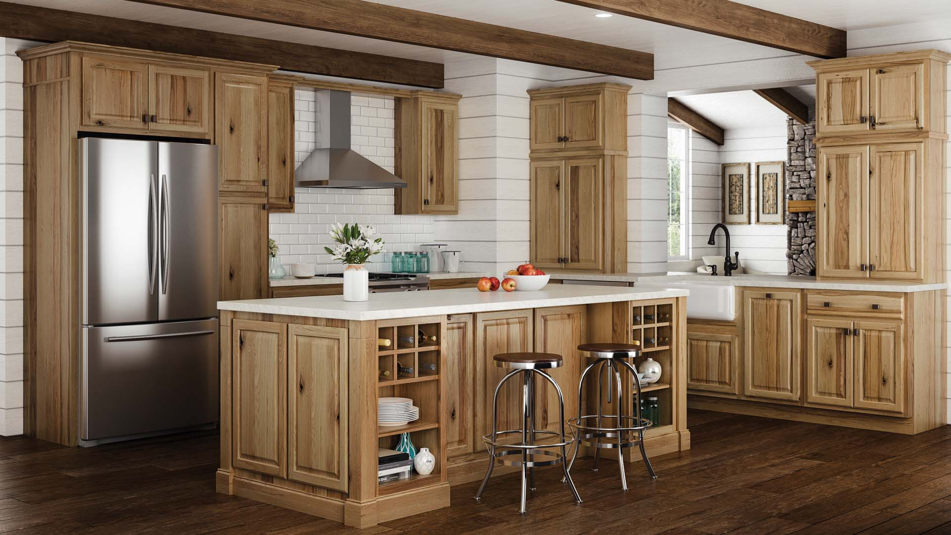 Hampton Base Kitchen Cabinets In Natural Hickory Kitchen The Home Depot