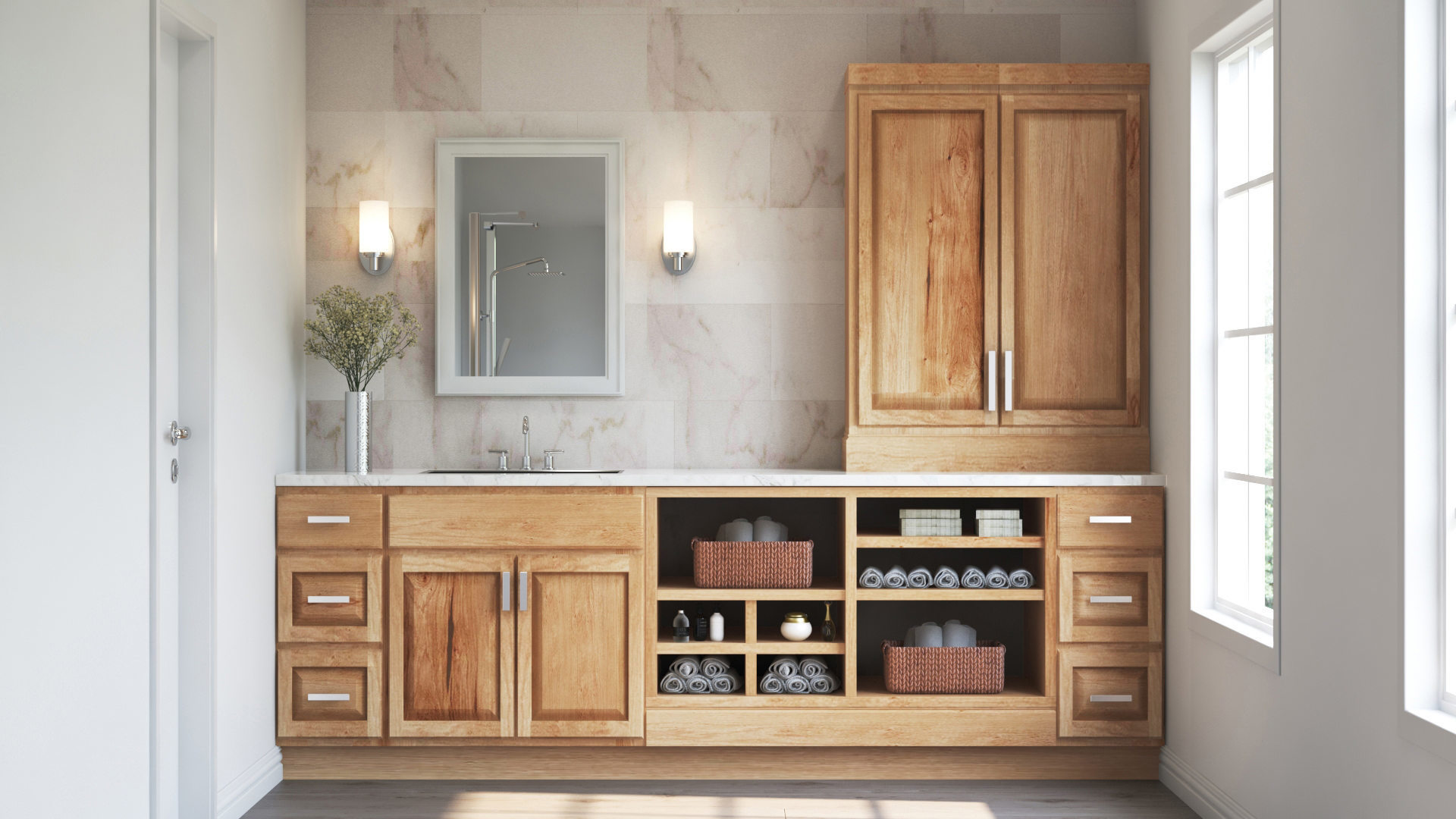 Hampton Bath Cabinets In Natural Hickory Kitchen The Home Depot
