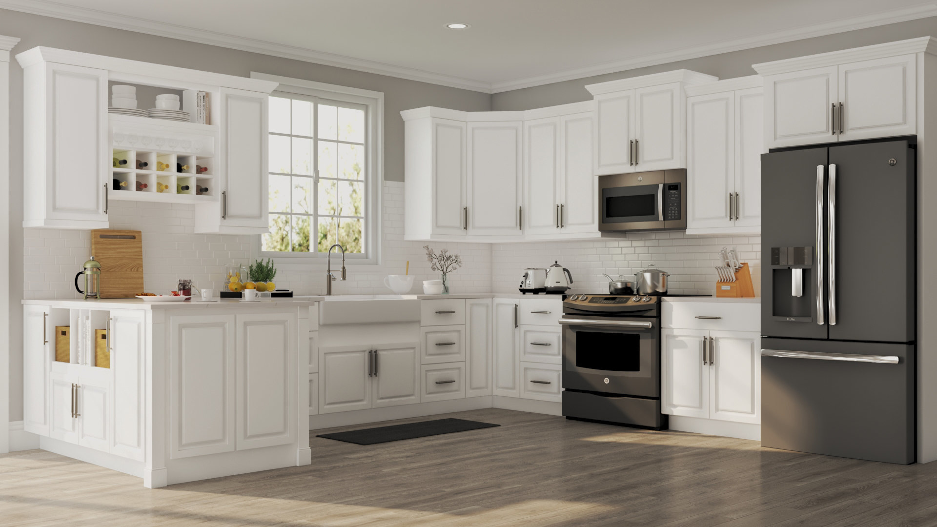 Hampton Wall Cabinets in White – Kitchen – The Home Depot