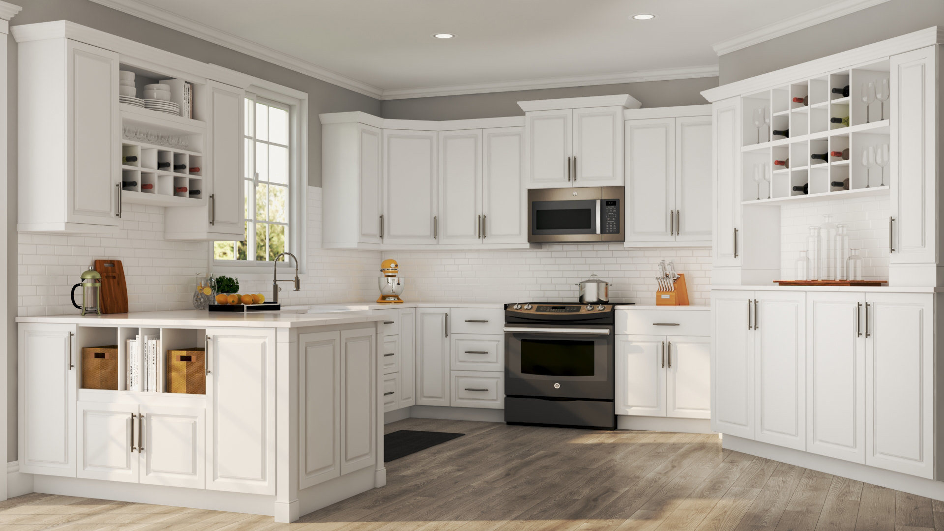 Hampton Base Cabinets In White Kitchen The Home Depot