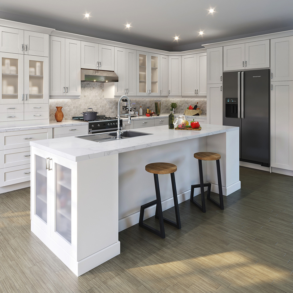 Shaker Wall Cabinets In Vanilla White Kitchen The Home Depot