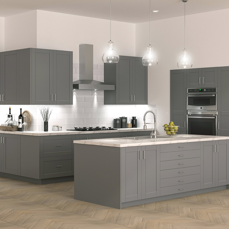 Shaker Base Cabinets In Gray Kitchen The Home Depot