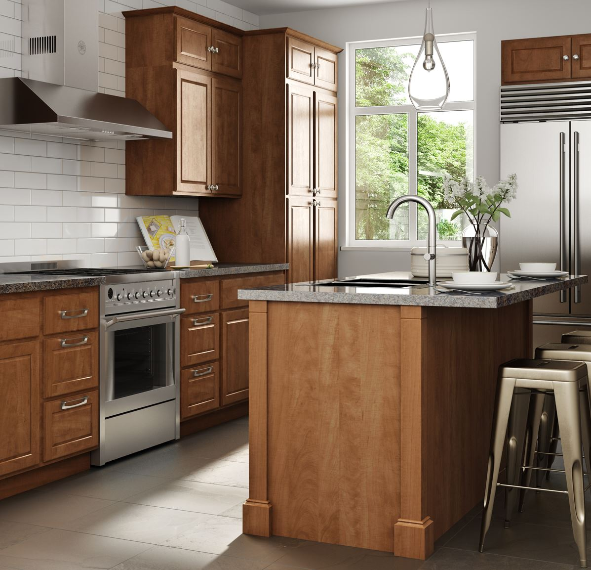 Kitchen Cabinets: Madison Base Cabinets In Cognac