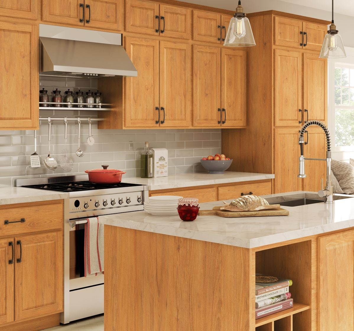 Madison Base Cabinets in Medium Oak – Kitchen – The Home Depot