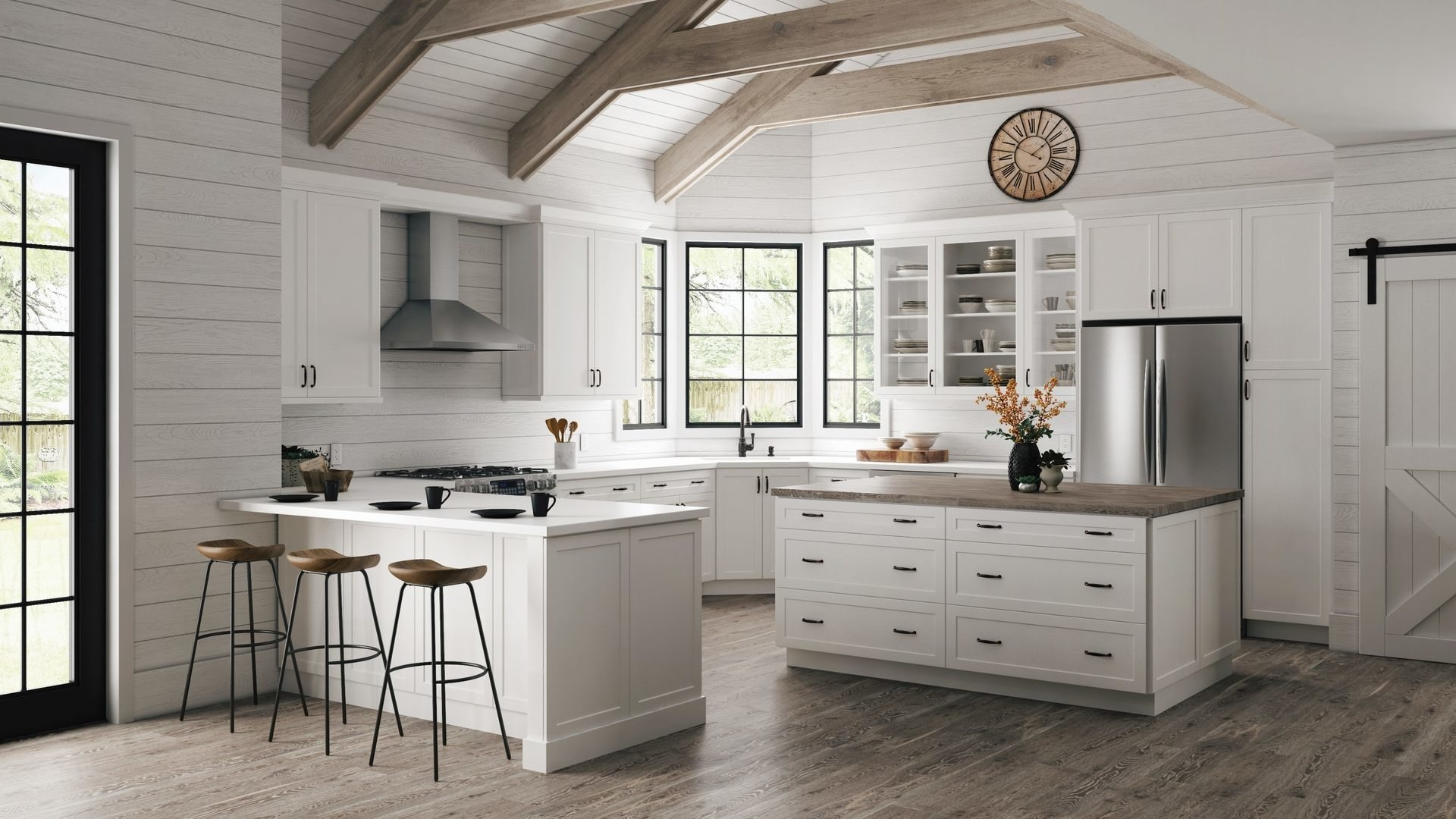 Melvern Double Oven Cabinets In White Kitchen The Home