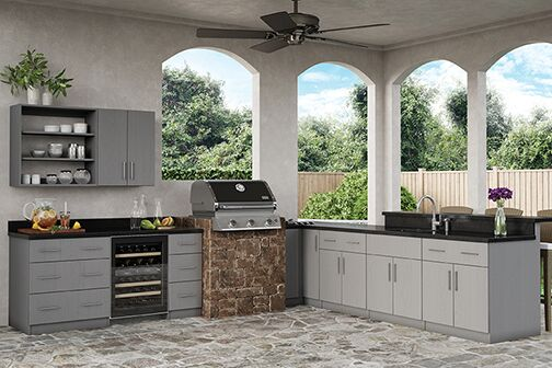 Miami Sink Base Cabinets In Rustic Gray