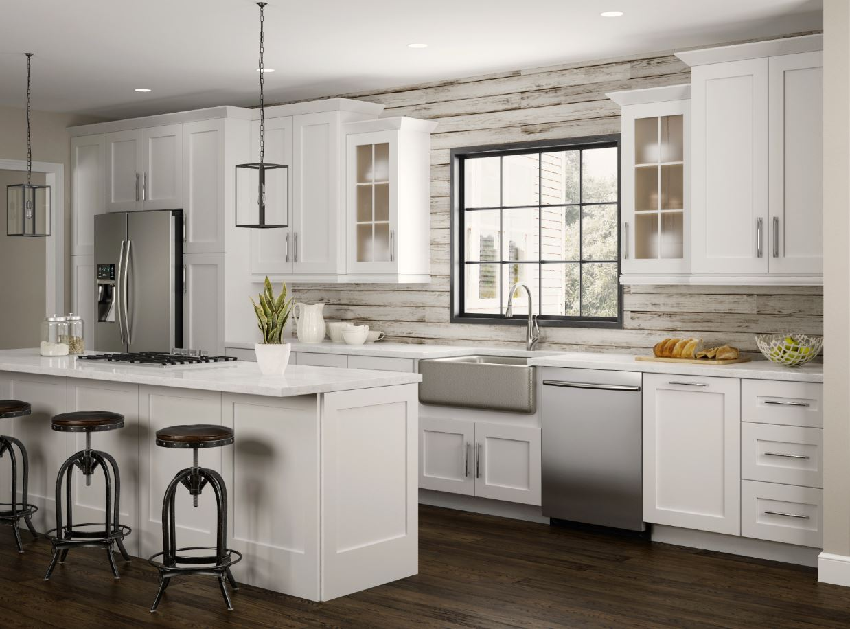 Newport wall cabinets in pacific white kitchen the for Kitchen cabinets home depot
