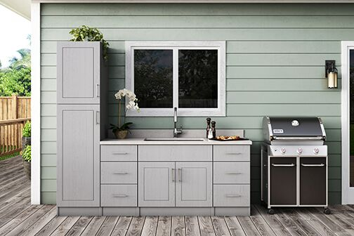 Palm Beach Base Cabinets In Rustic Gray Kitchen The Home Depot