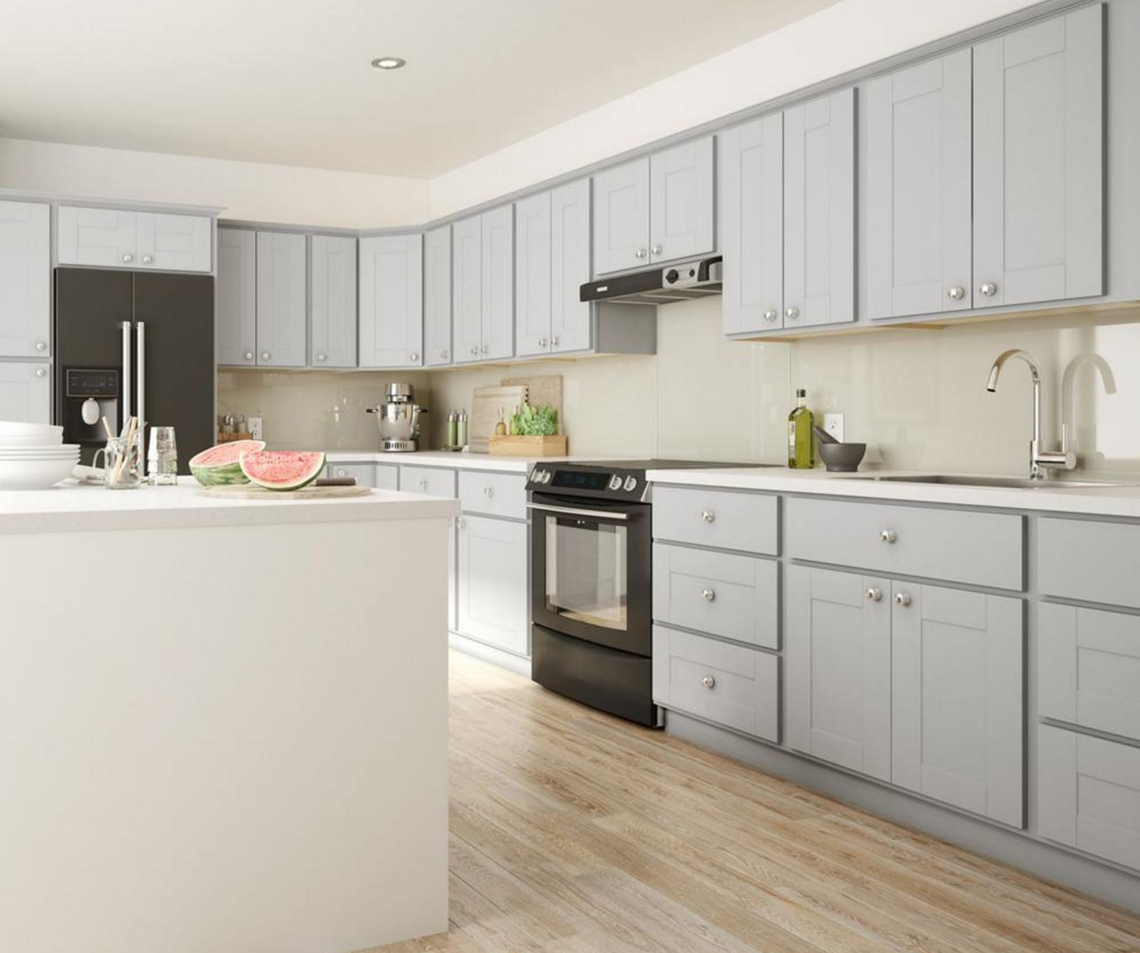 Kitchen In A Cabinet: Princeton Base Cabinets In Warm Grey