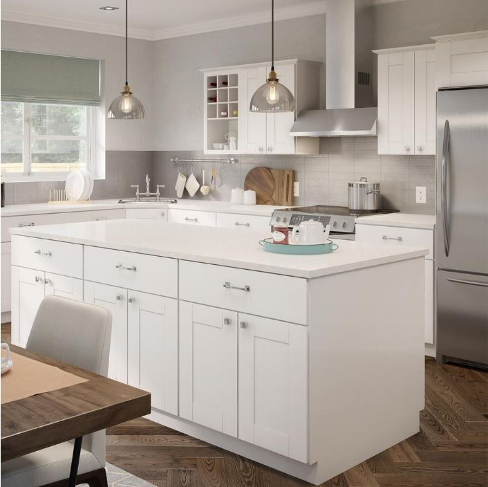 Princeton Base Cabinets In Warm White Kitchen The Home Depot