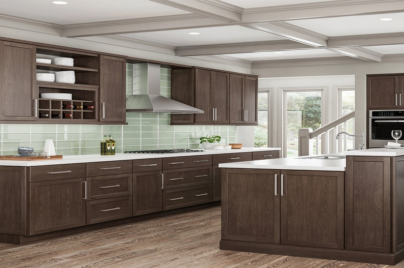 Shaker Wall Cabinets In Brindle Kitchen The Home Depot