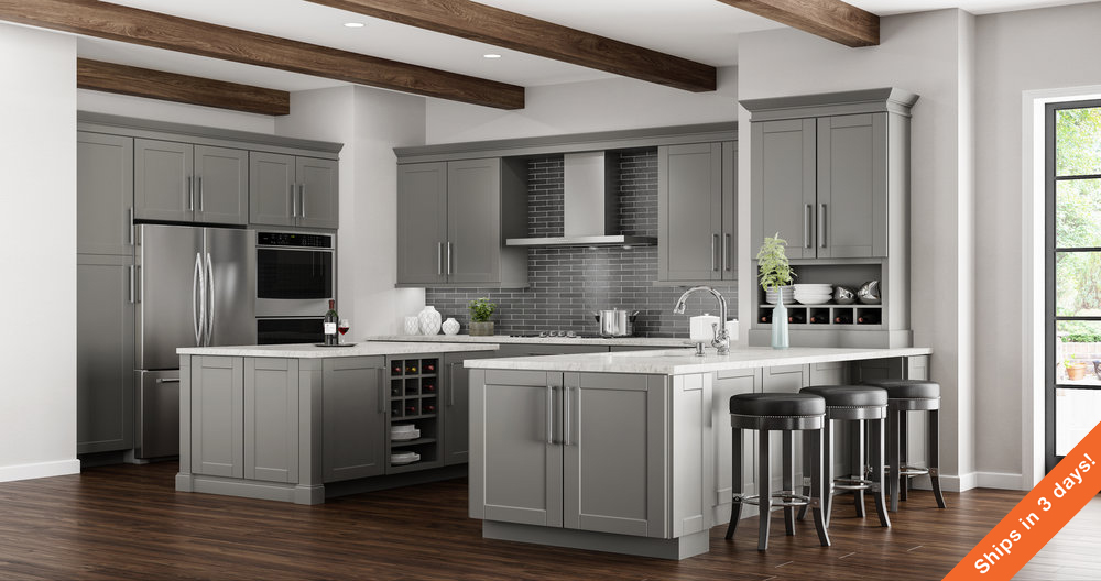 Shaker Base Cabinets In Dove Gray