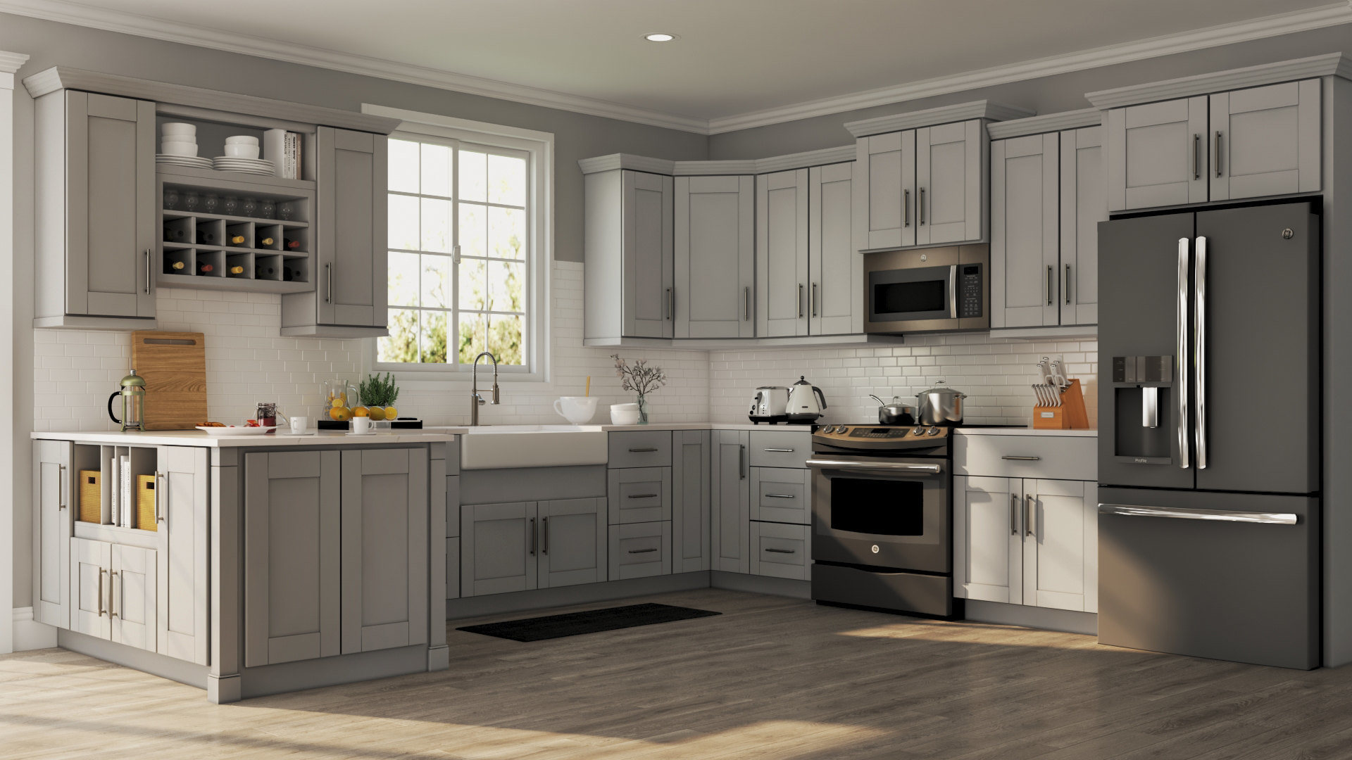 Shaker Specialty Cabinets in Dove Gray Kitchen The
