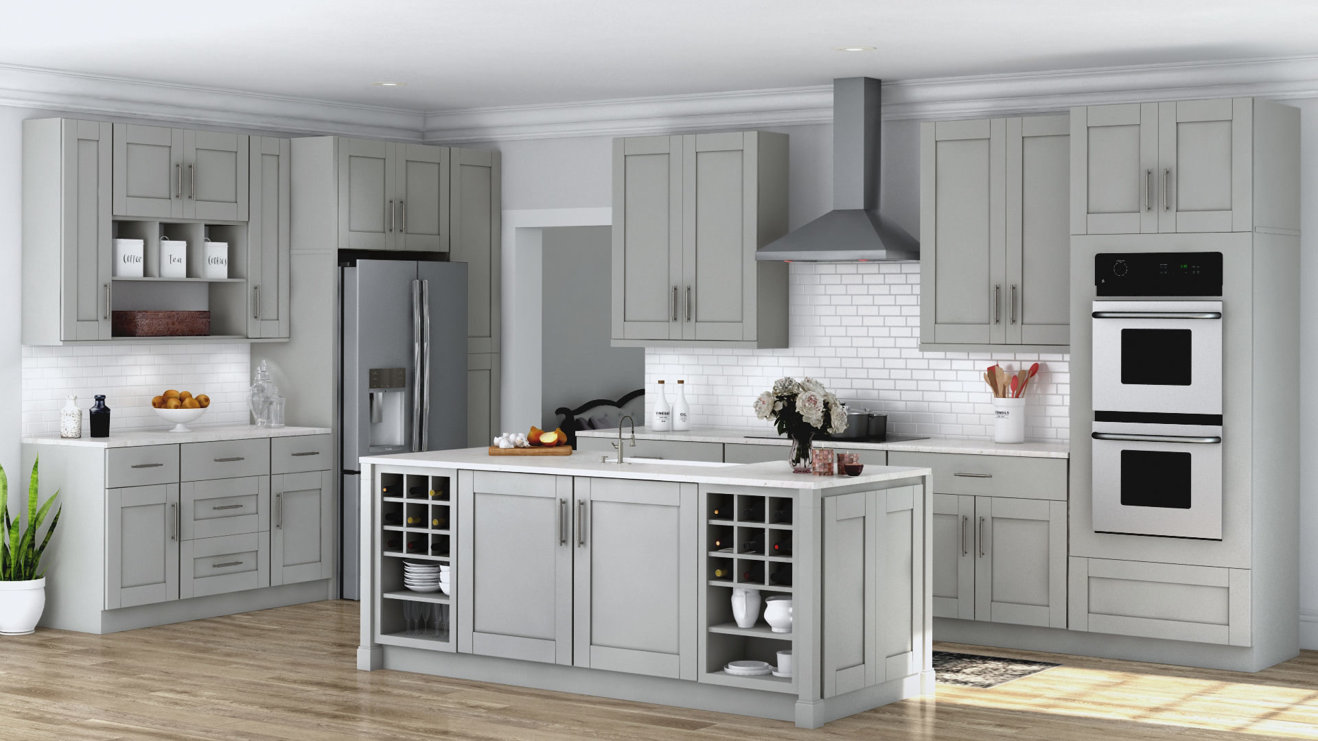 Shaker Specialty Cabinets in Dove Gray – Kitchen – The Home Depot